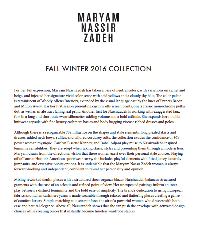 Fall Winter 2016 Collection overview submitted to Vogue.com upon in-person review of the season.