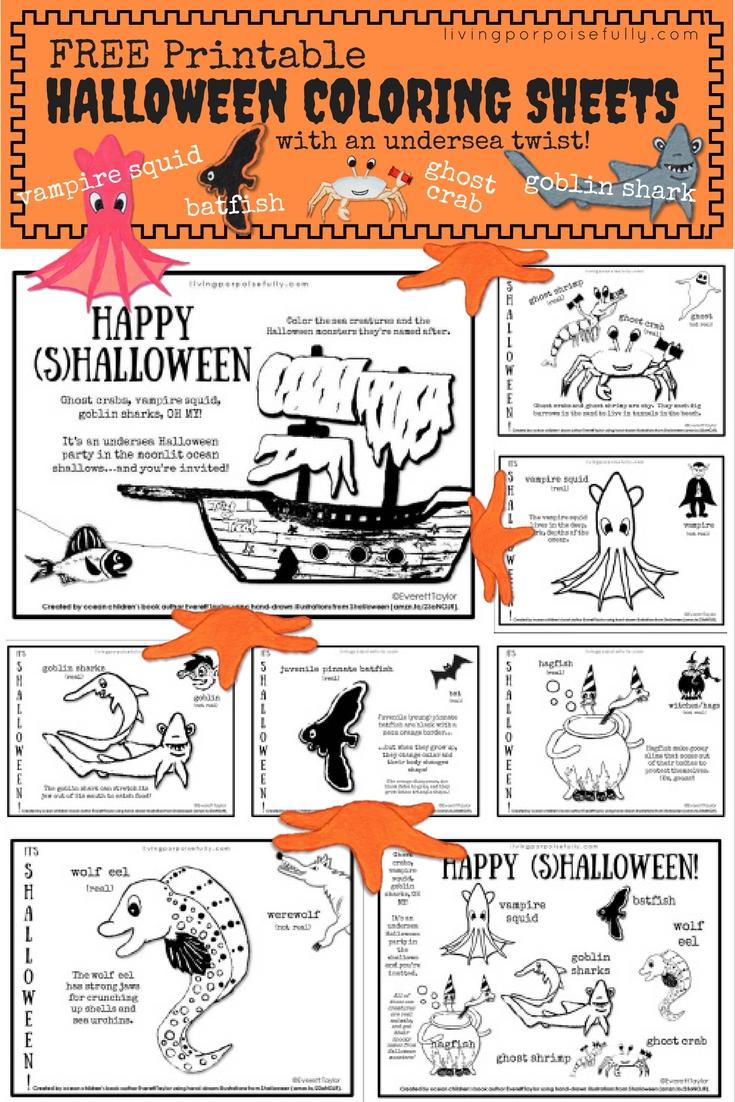 Undersea Halloween Coloring Sheets