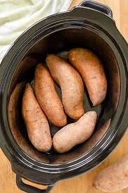 Step 1: - Step One: Wash and dry sweet potatoes. Place them in slow cooker, cover, and cook on high for 4 hours or low for 8 hours (mine were done after a bit less than 3 hours on high).