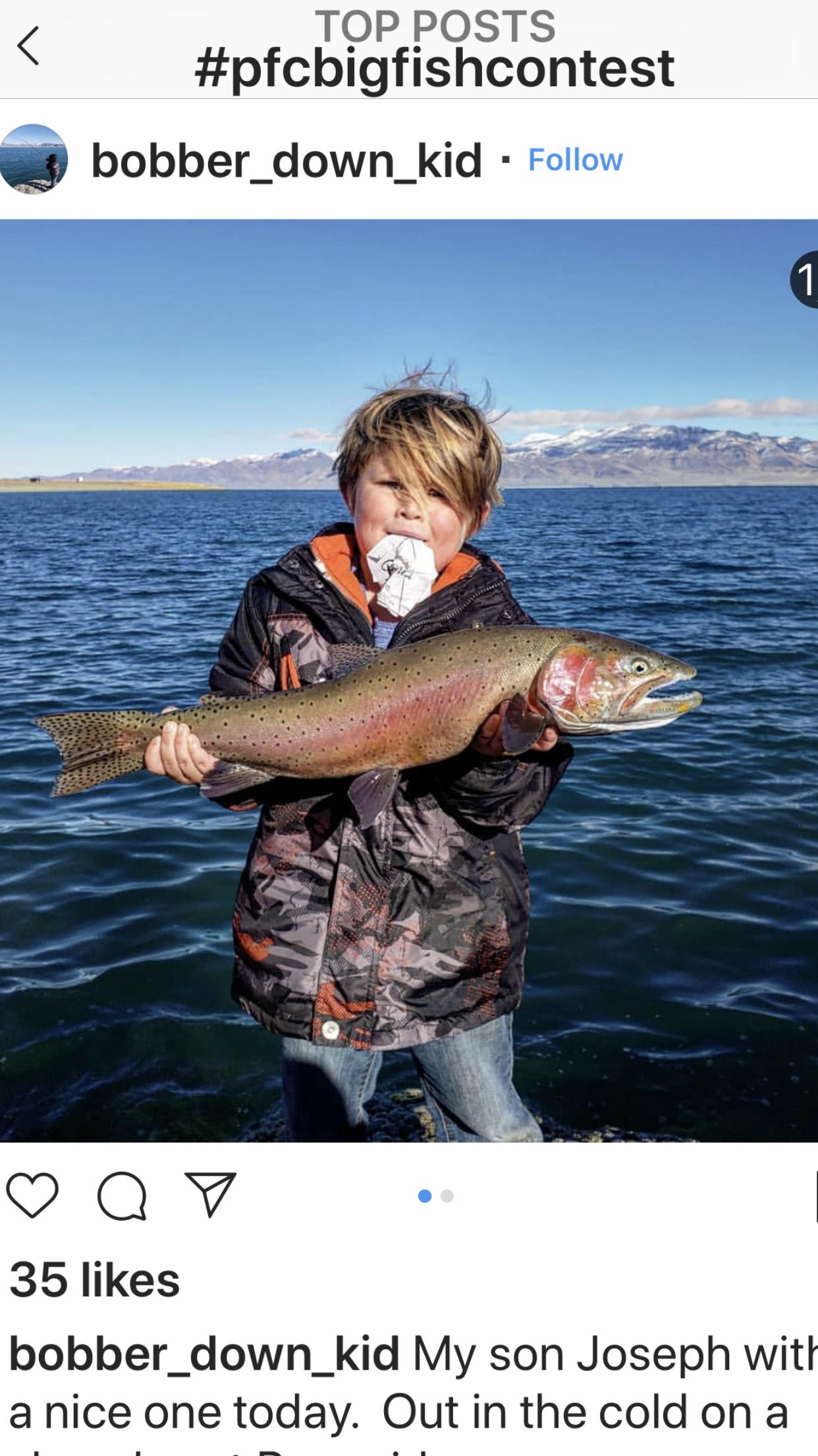 #pfcbigfishcontest Junior Division Winner Joseph ! Great job Joseph ! Photo By: Hunter JOe