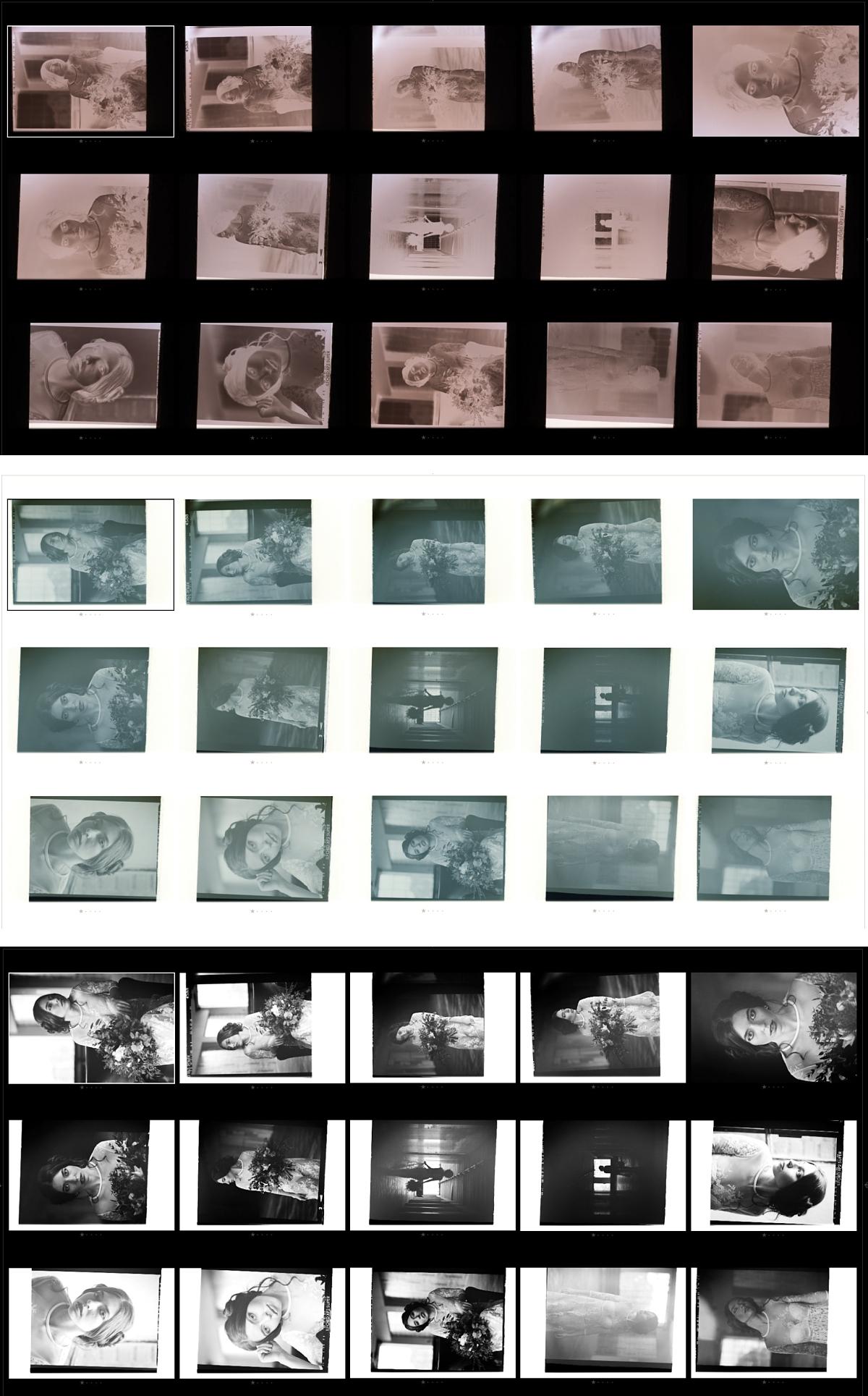 1. sken negativu 2. invertovaná černá - bílá 3. zvýšený kontrast a další úpravy...