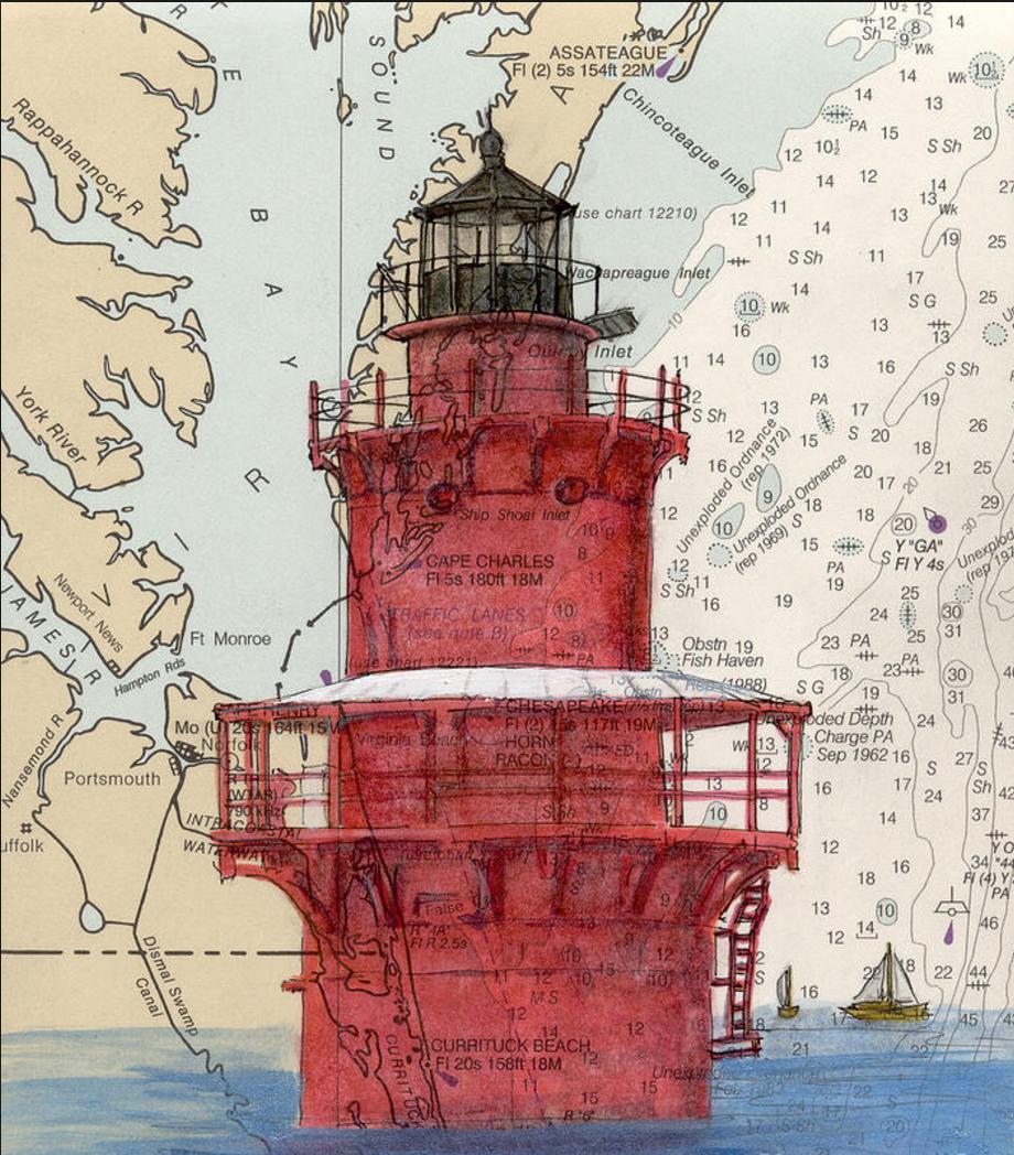 Newport News Middle Ground Lighthouse Va Nautical Chart Map Art, painting by Cathy Peek |November 18th, 2013 |Fine Art America