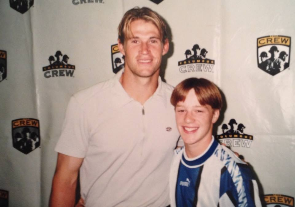 "I met my soccer idol, Brian McBride, in 1998 after winning the Columbus Crew's contest to be ""Reporter For A Day."""