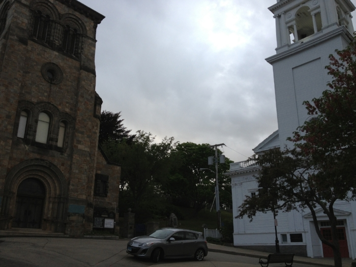On the left is the first pilgrim congregation in Plymouth, MA. It's now Unitarian. On the right is the Congregationalist church that separated for the sake of the doctrine of the Trinity in the 1800s. That church is now a member of the mainline liberal UCC. These two churches are a visible example of the effect of cultural changes on the church in America. I imagine that at some point a remnant of confessional Christians left this Congregationalist church to set up shop somewhere else where the historic creeds and confessions of the church were more welcomed and cherished.