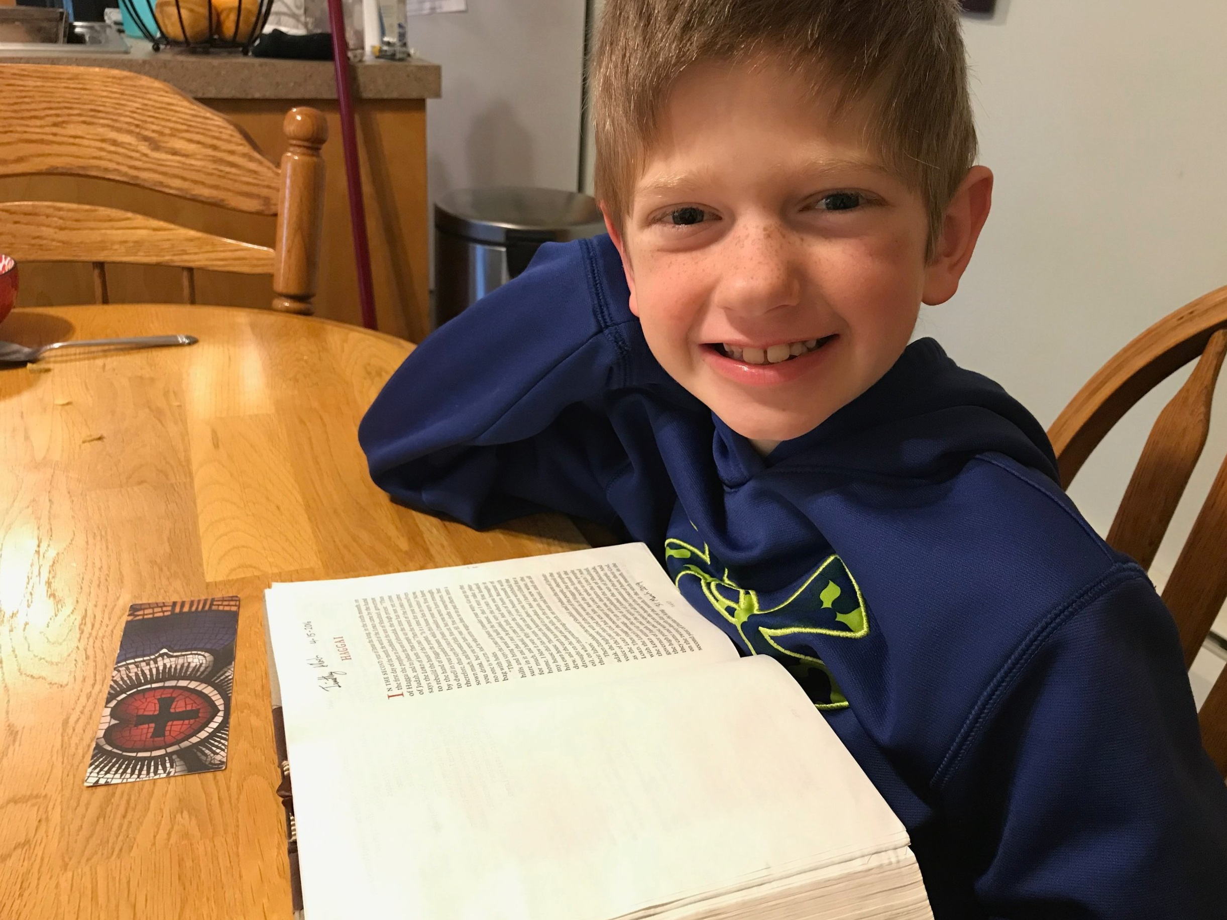 My son after he completed reading the book of Haggai on 1 April 2019.