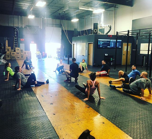 Coach Brent leading some mobility work with the 5:30.  #mobility #crossfit