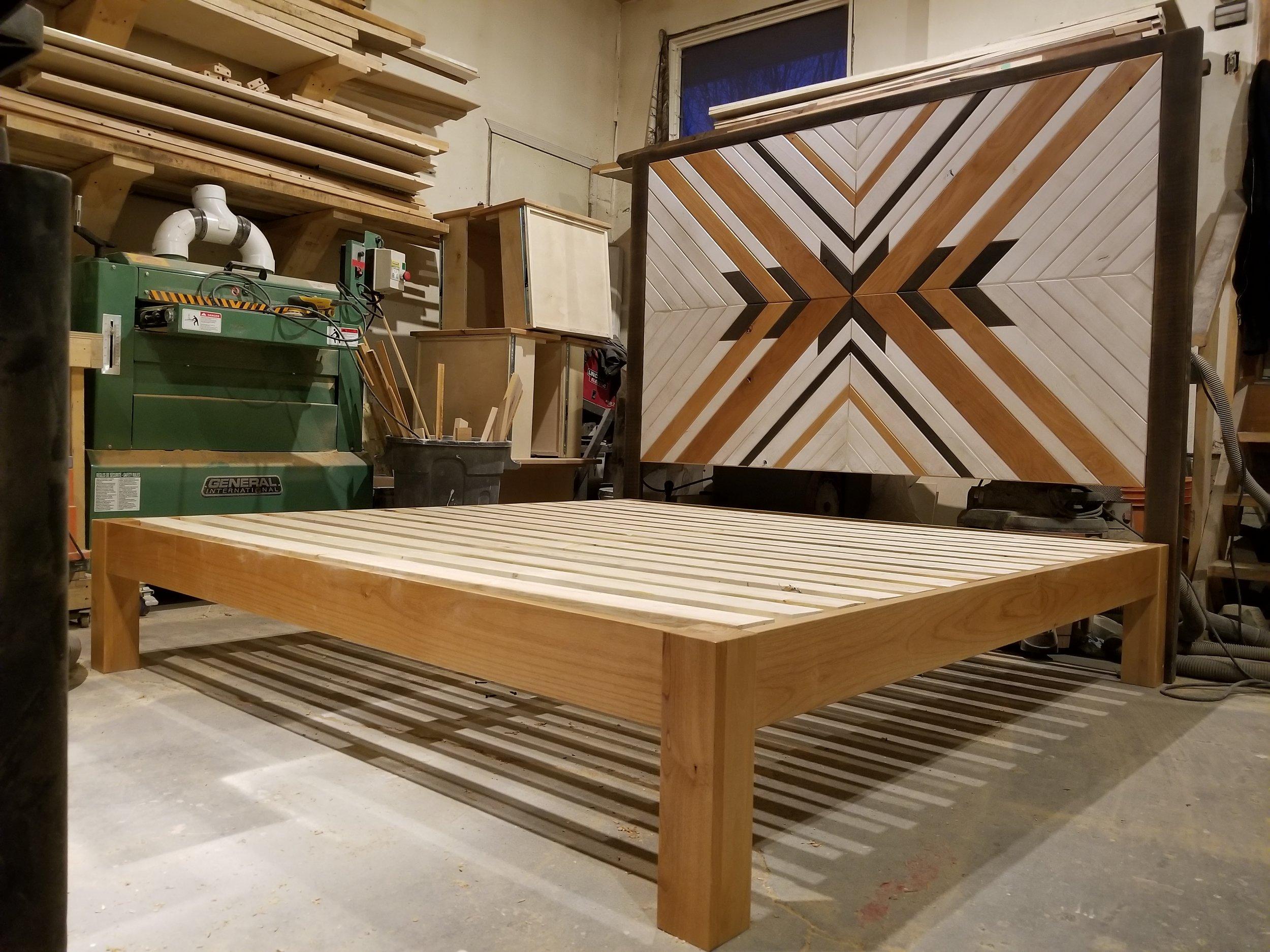 Handmade wood headboard