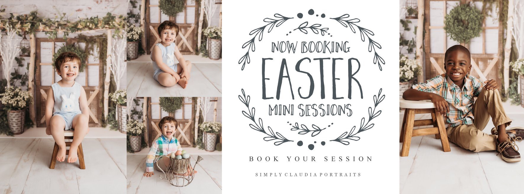 Easter Mini Sessions | March 9 - April 20, 2019 | $50 | 20 Min Session | 2 Hi Resolution Digital Images | Facebook Timeline | Online Gallery | Print Release | To book click  here
