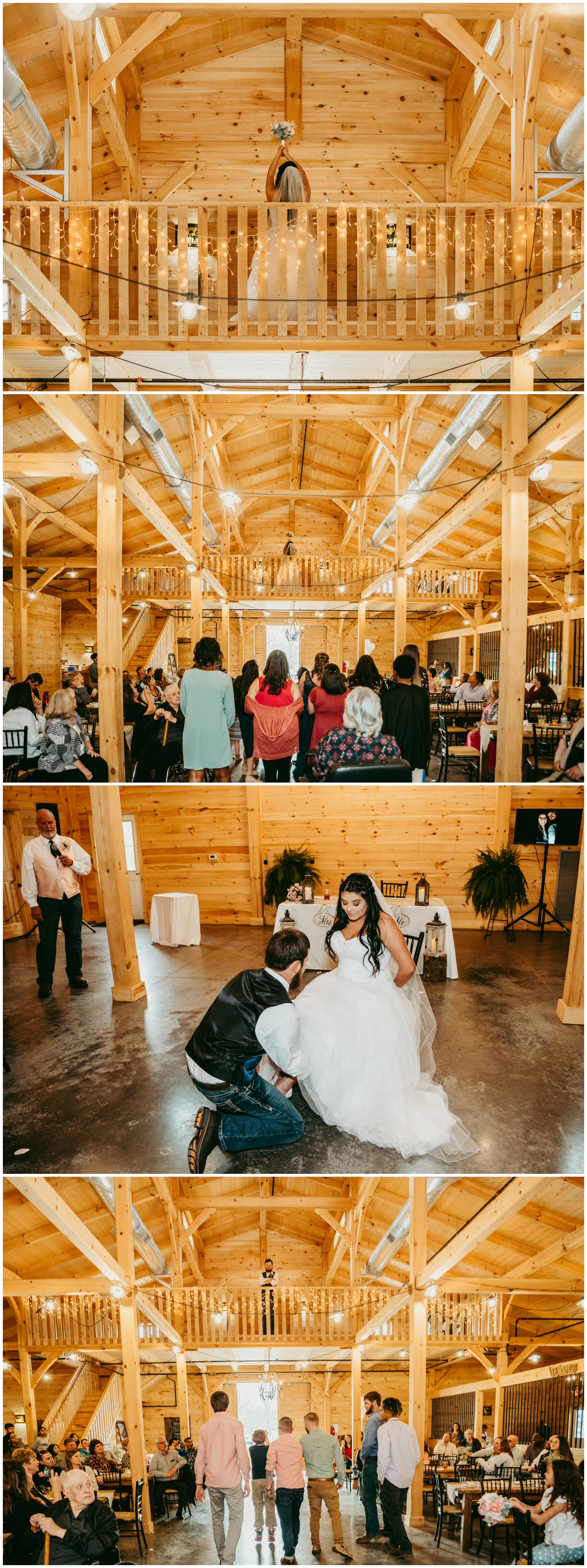 The balcony inside the venue was the perfect place to throw the bouquet and the garter …