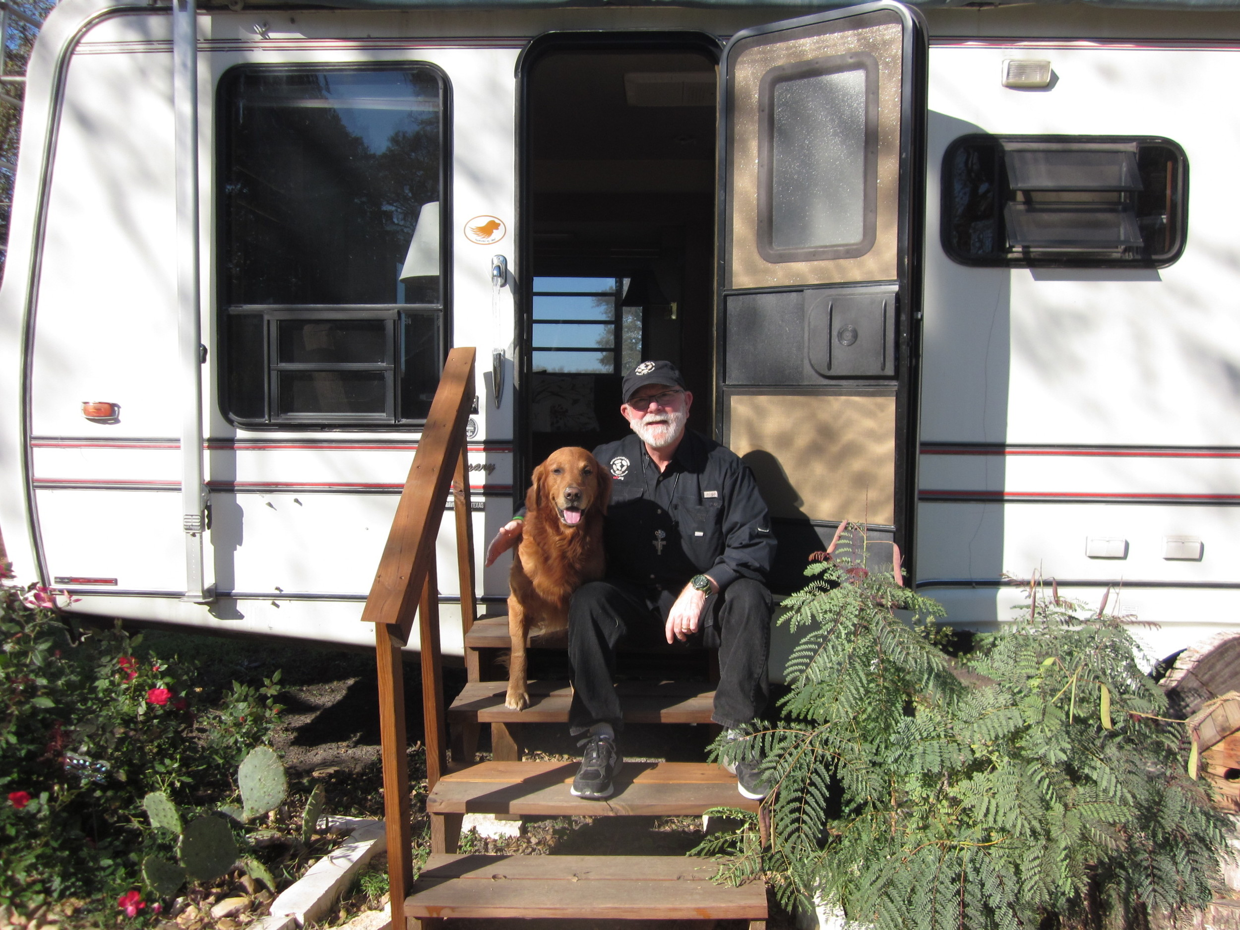 Alan Graham being approved by me on the steps of a 5th Wheel.