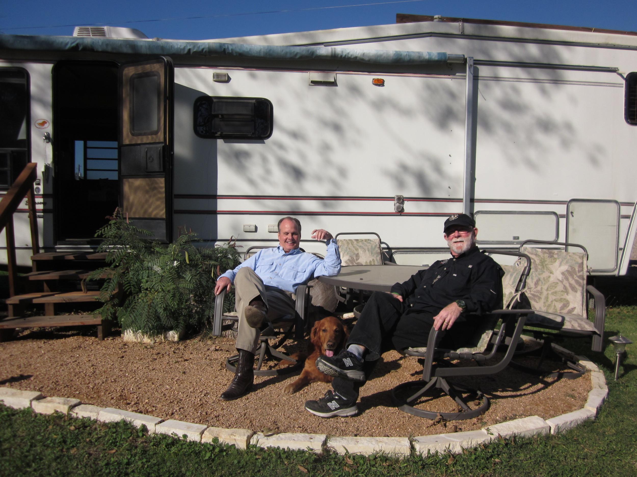 Tim, who donated his mobile home, me, and Alan Graham.