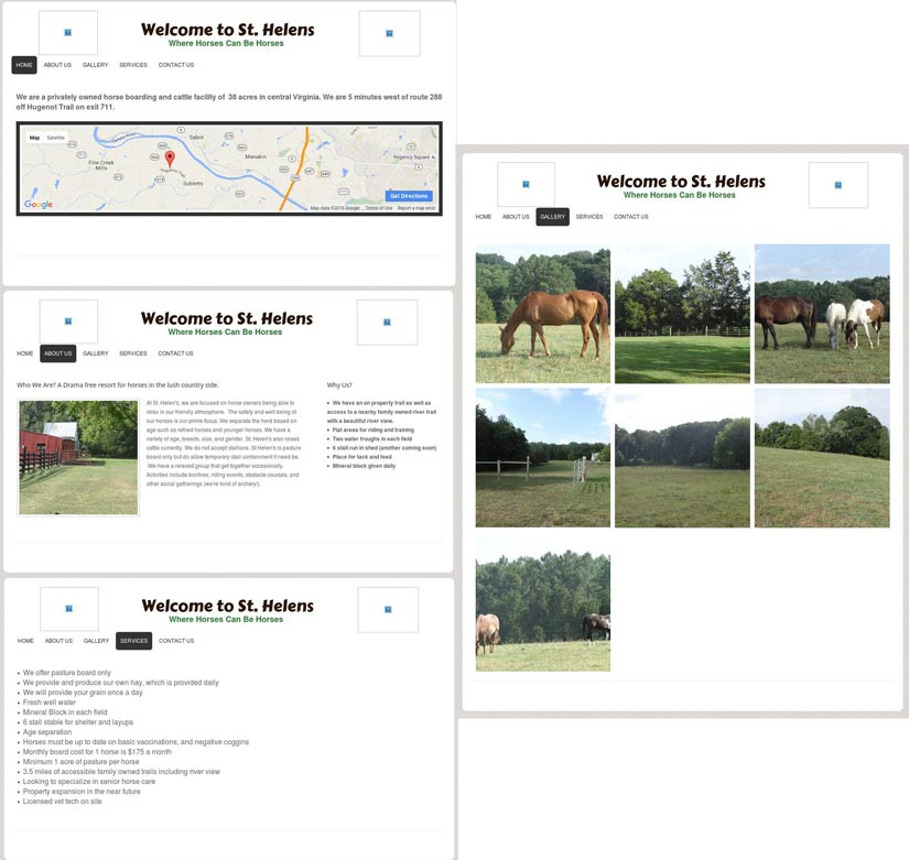 A view of the original site before the redesign. The owners wanted to make sure the site had a focus on the services they could provide as well a a preview of the stable's grounds.