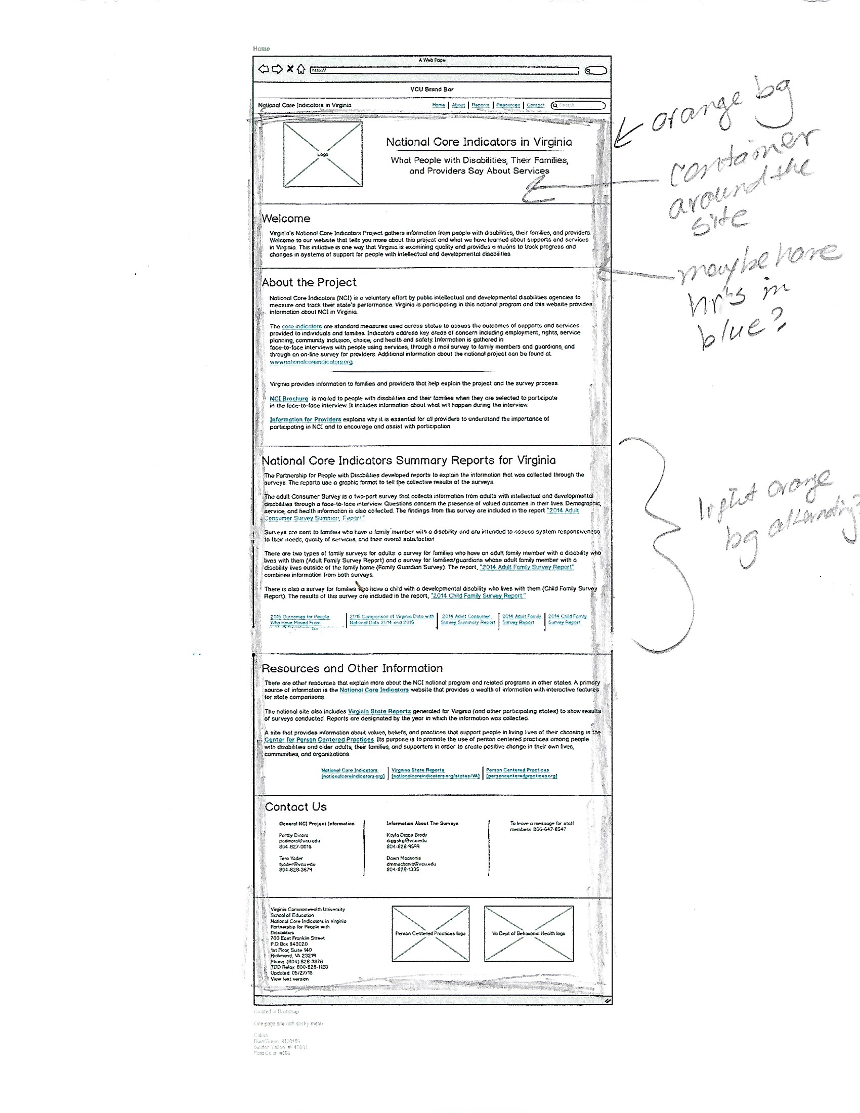 Wireframe - I then used Balsamiq to create a one-page layout using the navigation on the original site as a guide for the placement of each section and its available content.