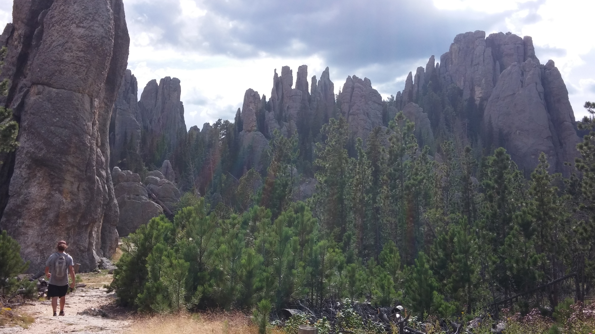 Hiking at the feet of the spires.
