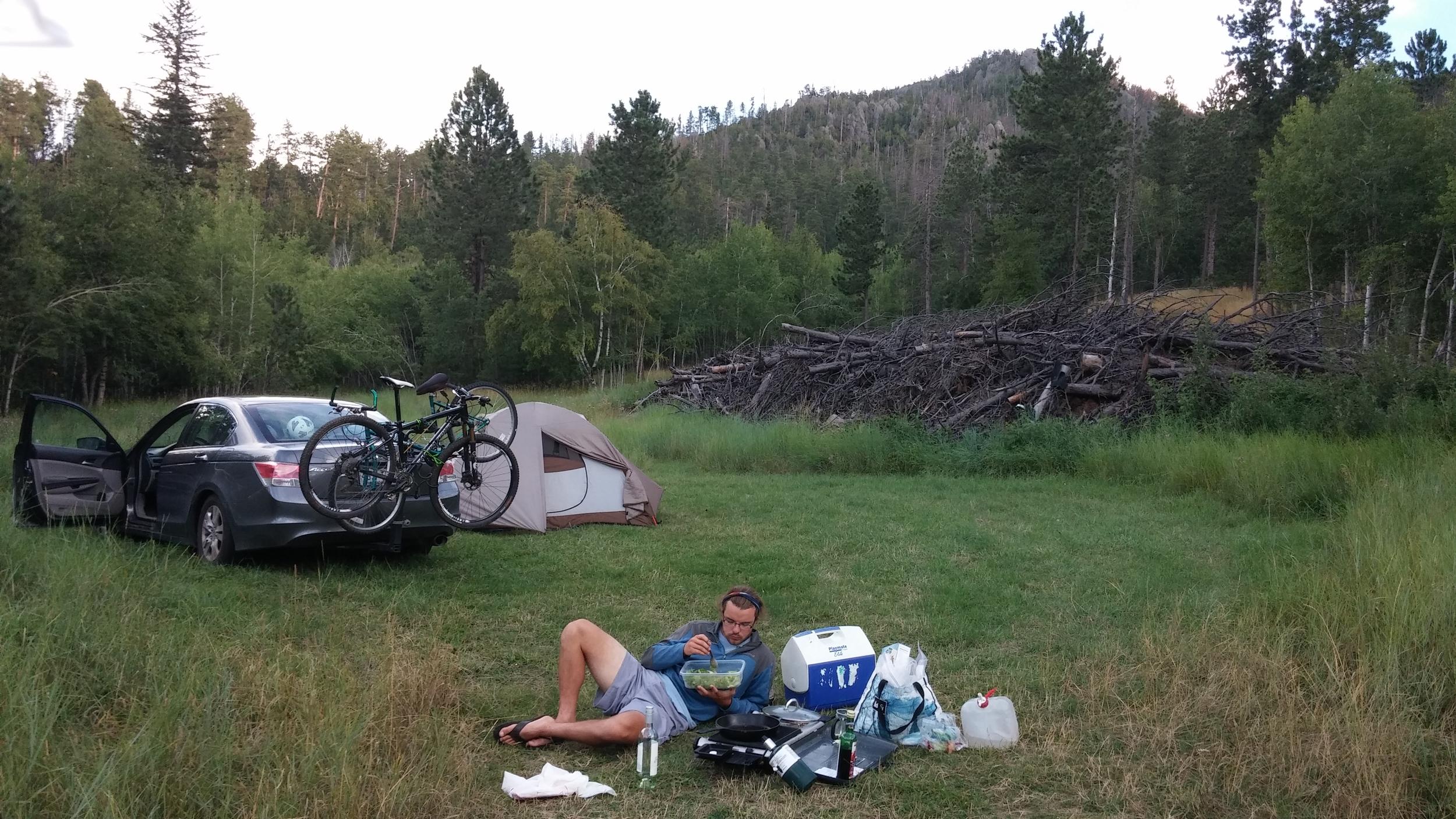 Found a secret spot in South Dakota. Adam's in his comfort zone.