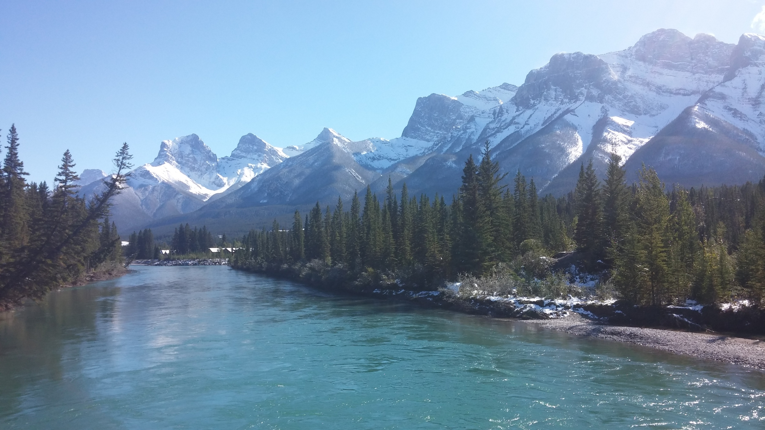 On a bridge right off the main street of Canmore. Loved this place!
