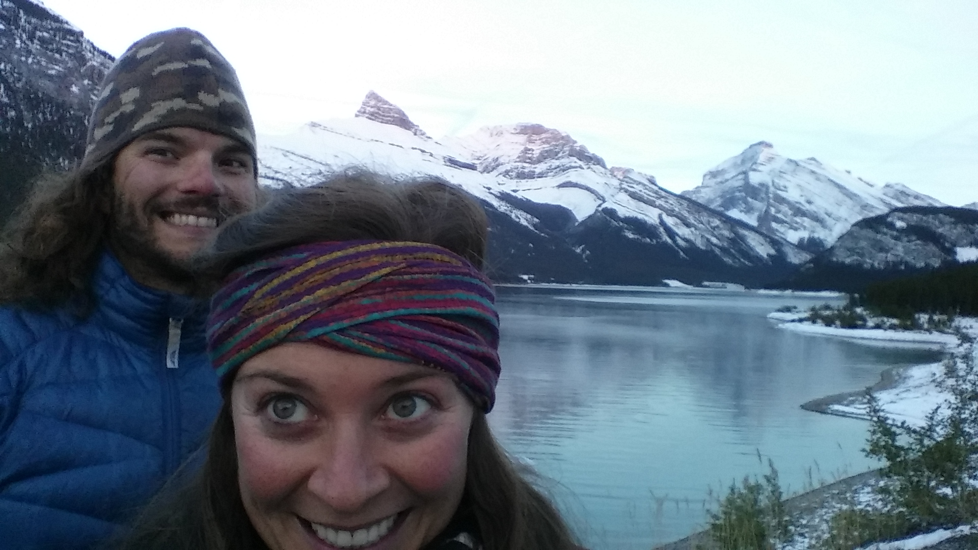 Coldest night camping of our trip. Did it once, not sure I want to repeat. Made the best of Spray Lake, Canmore, Alberta.