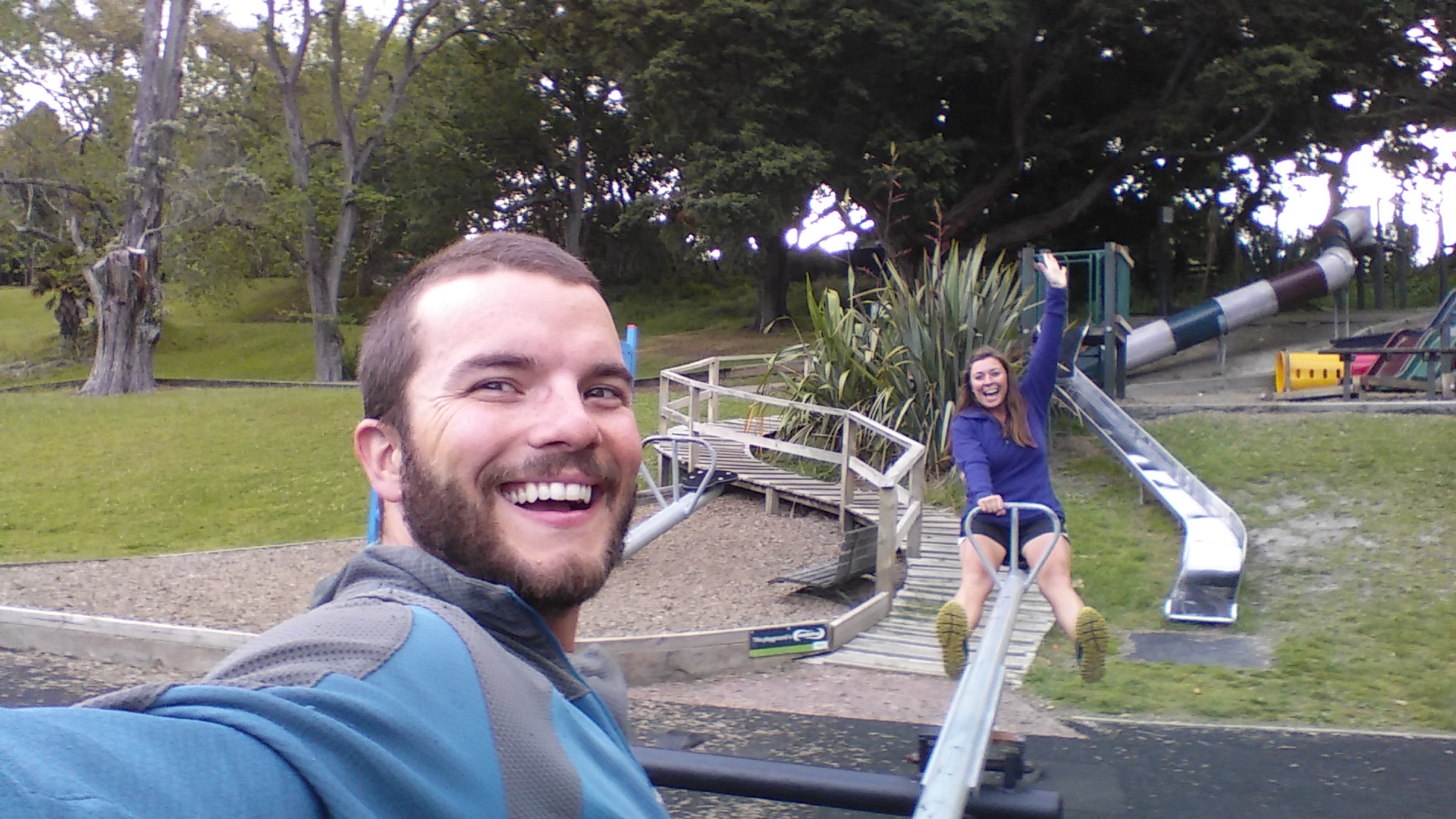 Waiting to check out a camper van in Auckland, and found the joy in the small moment of jumping on a seesaw!