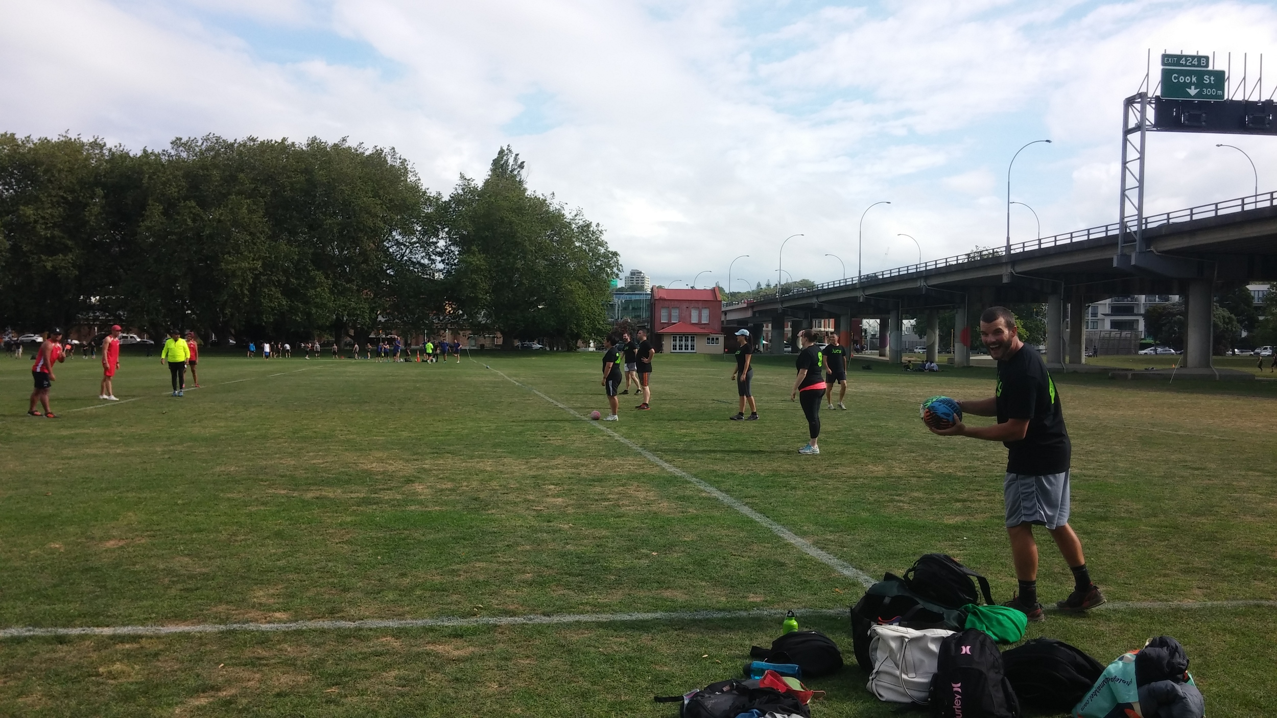Playing our first match of touch rugby between seeing campervans.
