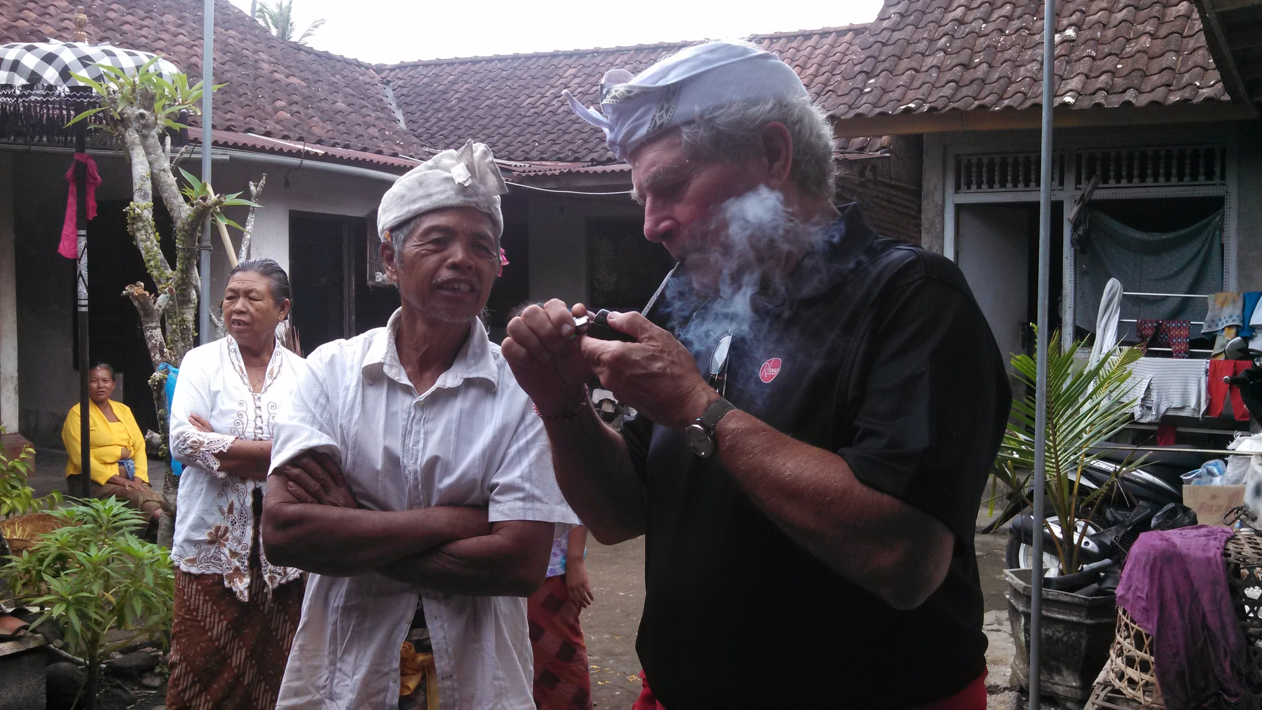 While waiting for the second ceremony, we sat and chatted again. Everyone was amazed by Rich smoking his pipe. Never seen a pipe before!