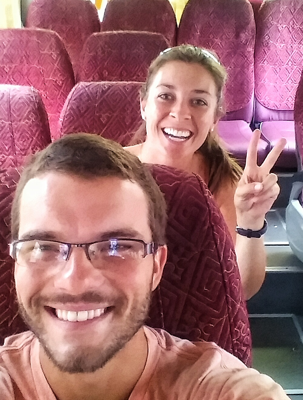 Full bellied, happy campers on the bus! Onward ho to Cat Ba Island!