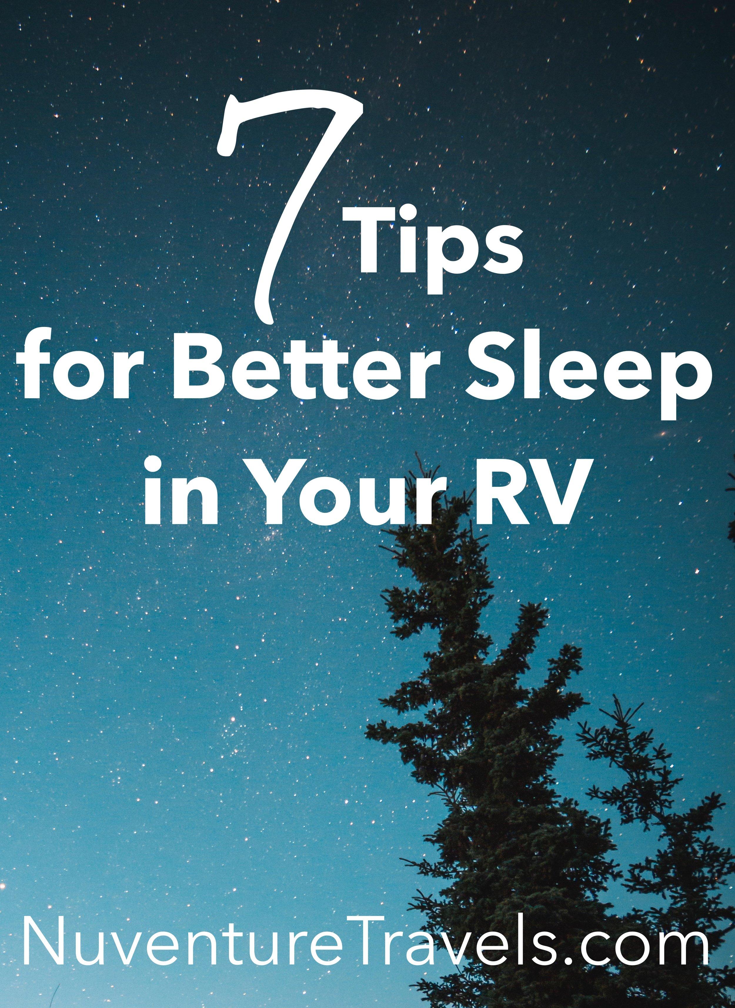 7 Tips for Better Sleep in Your RV, NuventureTravels.com