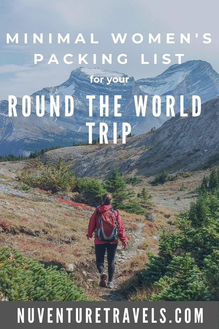 Minimal Womens Packing List for Round The World Trip, RTW Trip. NuventureTravels.com