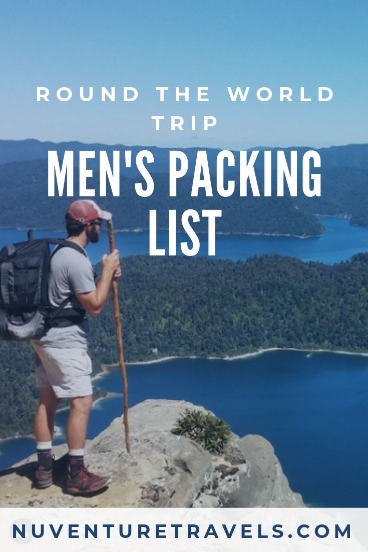 Minimal Mens Packing List for Round The World Trip, RTW Trip. NuventureTravels.com