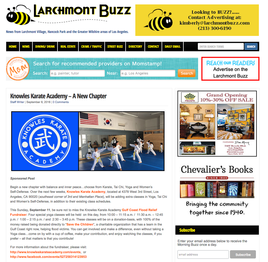 A story in the local online Larchmont Buzz! Read the complete story    here