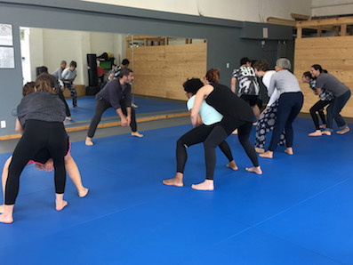 Self-defense : learning how to get out of a grab hold