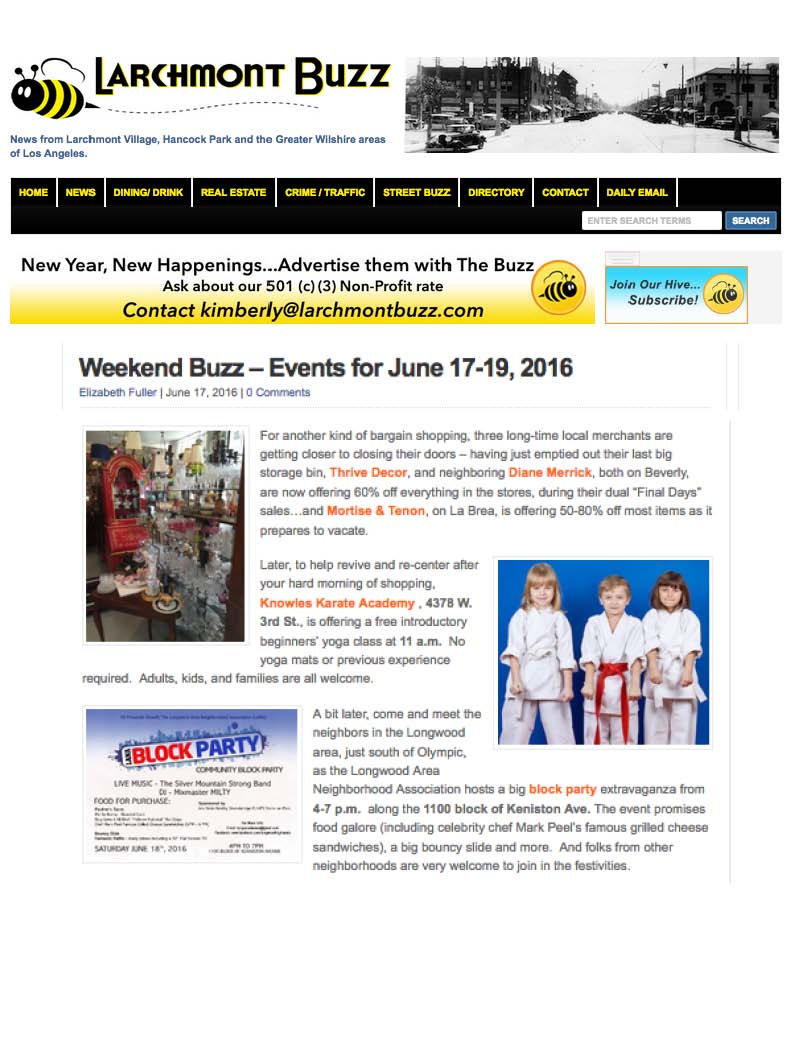 Our free yoga classes during opening week featured in Larchmont Buzz. Online version    here.