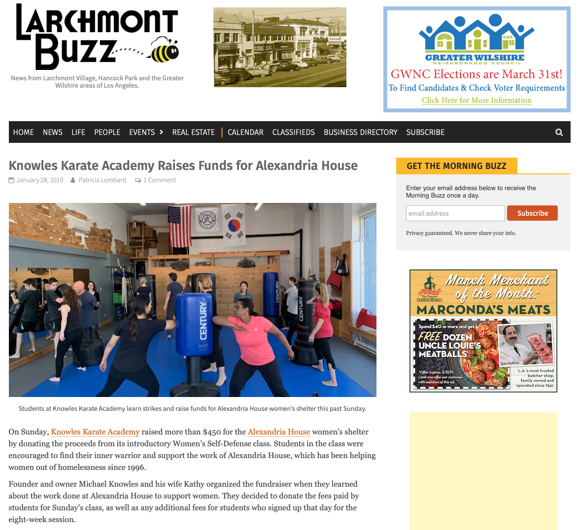 We raised $450 for Alexandria House with our Women's Self Defense Workshop!  Link to story    here