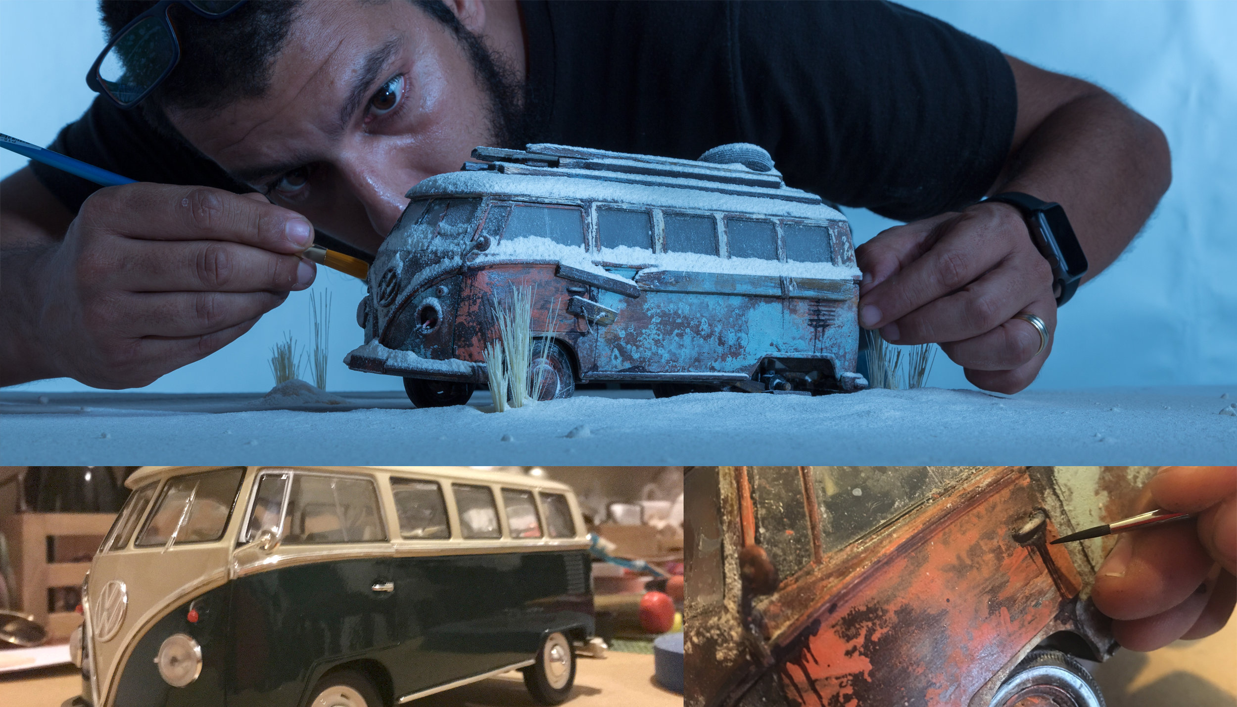 "BTS / BEHIND THE SCENES: SET DESIGN & PRODUCTION / SCALE MODEL BUILT & ""WEATHERING""  / PHOTOGRAPHY PRODUCTION / POST-PRODUCTION."