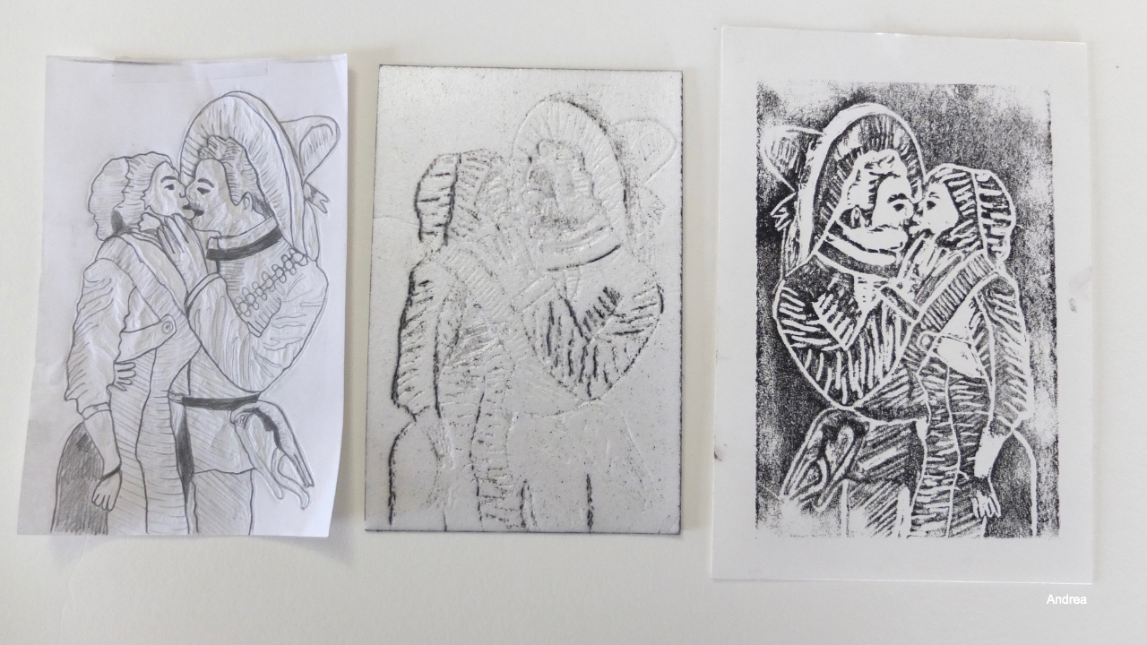 Styrofoam printmaking inspired by the work of José Guadalupe Posada