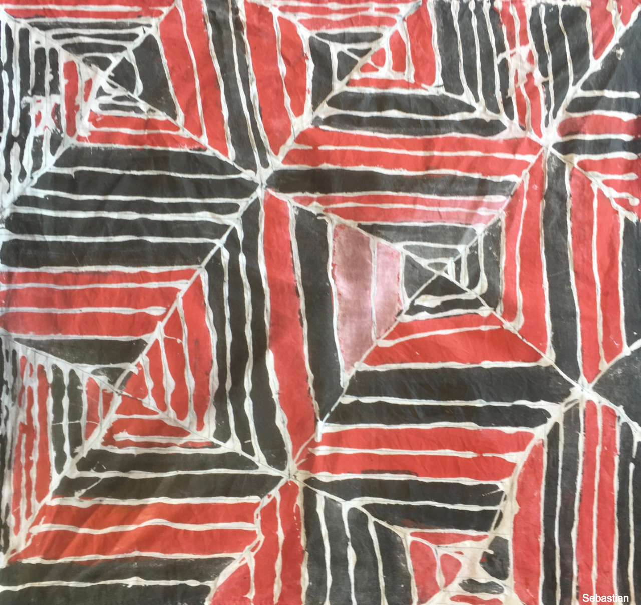 Textile design using glue resist inspired by mudcloth from Mali