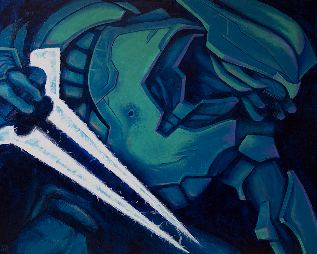 "Halo ""Elite"" Character. Acrylic on canvas, 2015."