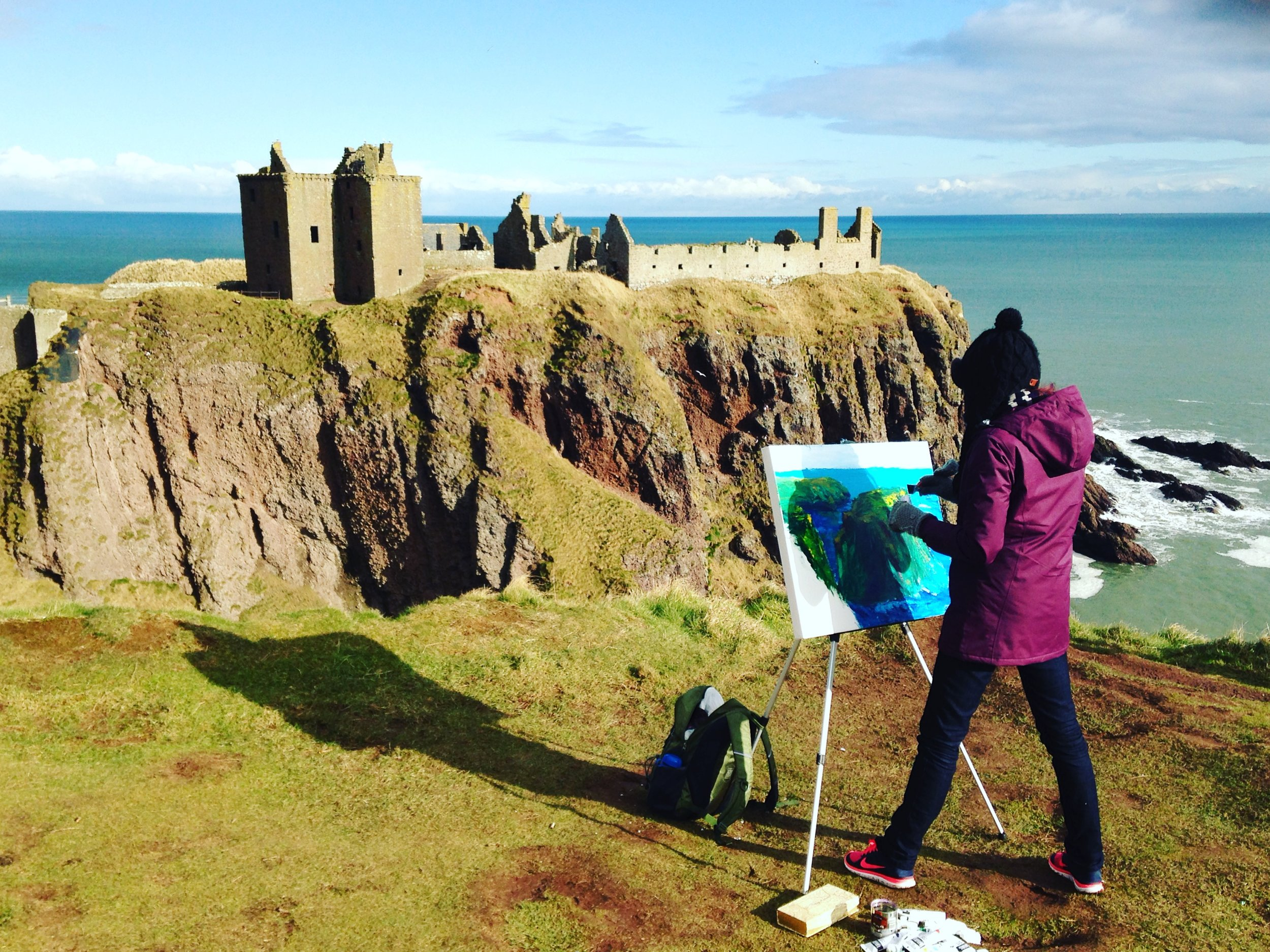 Painting at Stonehaven, Scotland. February 2016.