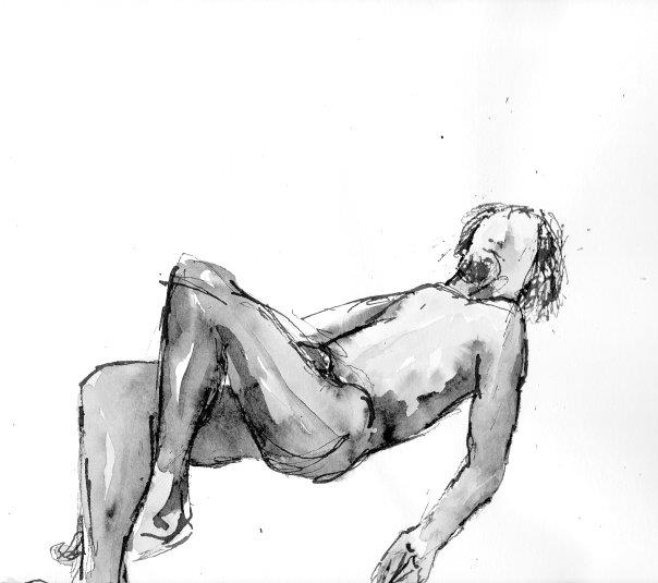Ink wash drawing, 2012. 10 Minutes, figure drawing class.