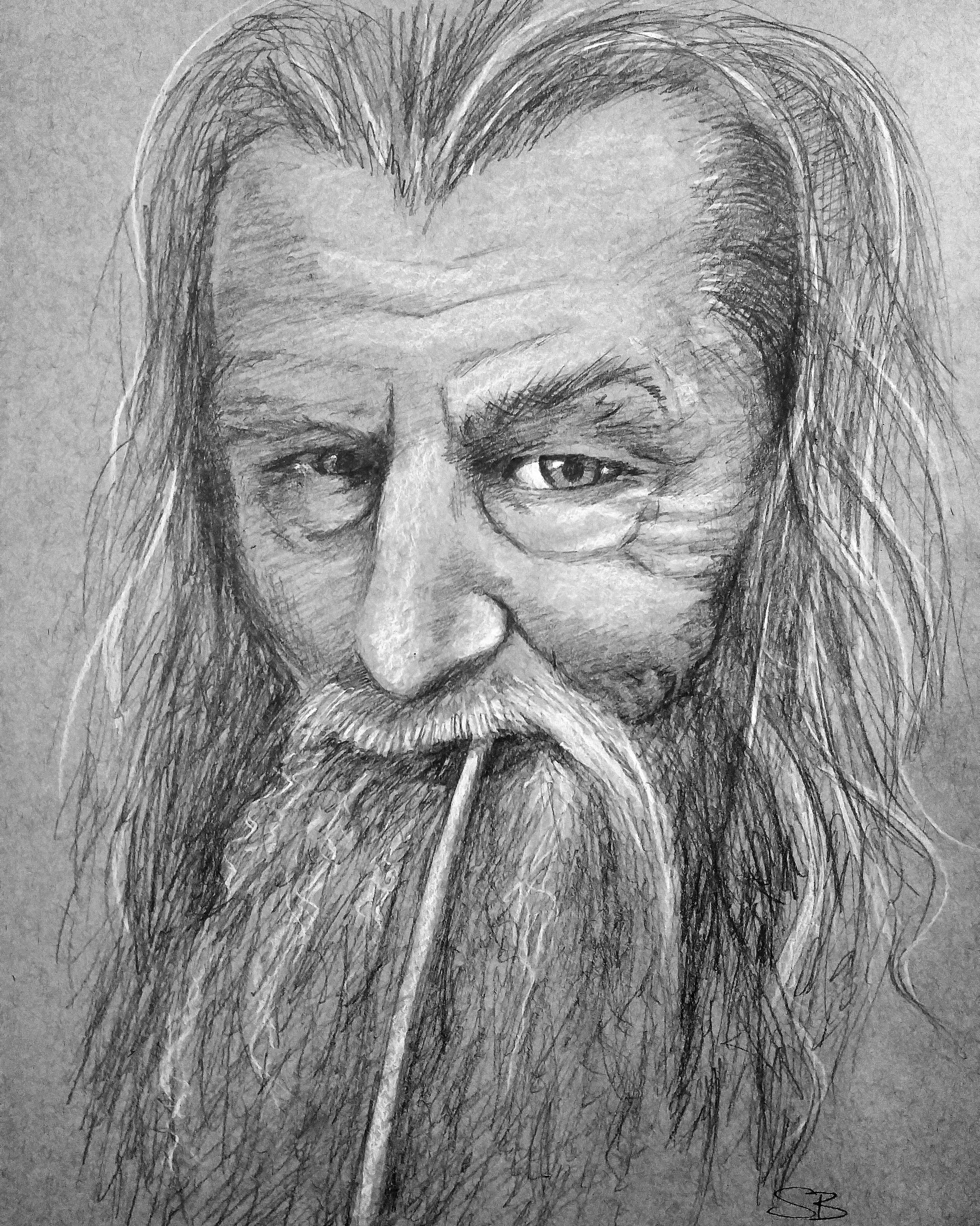 Gandalf the Grey, 2016. 1 hour. Graphite and chalk on toned paper.
