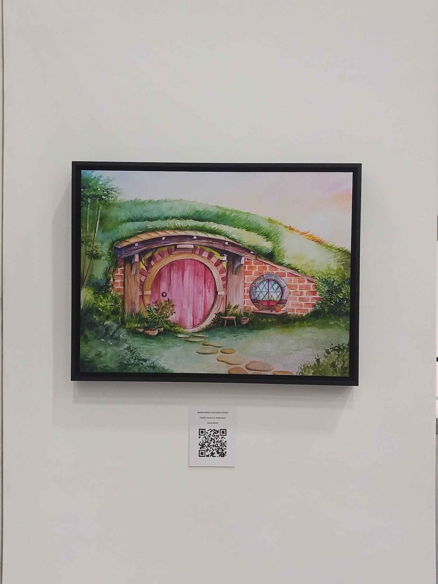 My painting hanging in the Gallery (woo!)