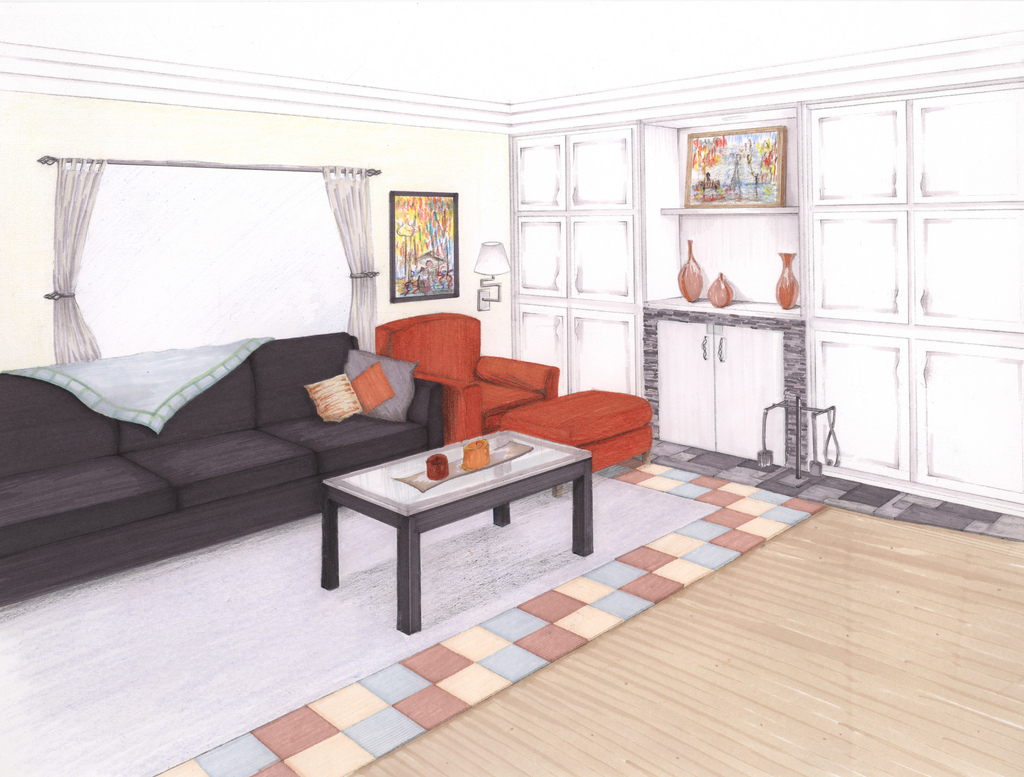 Adjacent Living Room, Prisma Markers and Colored Pencils, 2008.