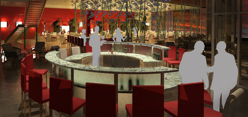 "Private Bar, Sushi Restaurant Concept called ""Koi"", 3D Rendering, 2009"