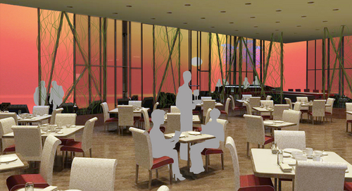 "Main Dining, Sushi Restaurant Concept called ""Koi"", 3D Rendering, 2009"