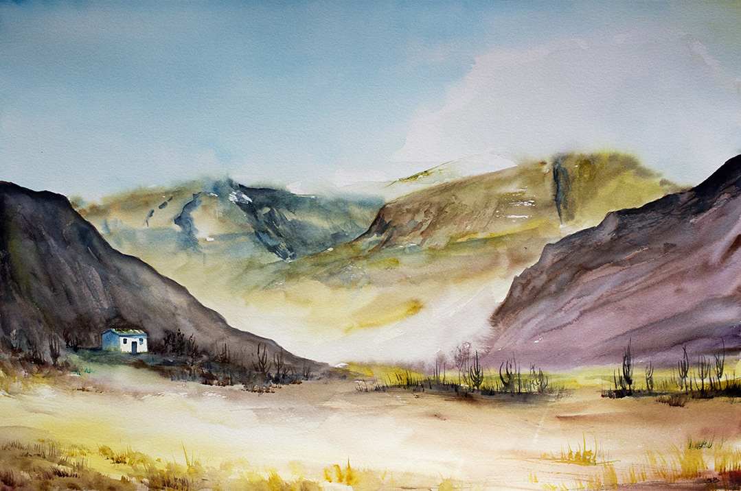 "Glen Nevis Gorge, 22x15"" watercolor on Bockingford Rough paper"