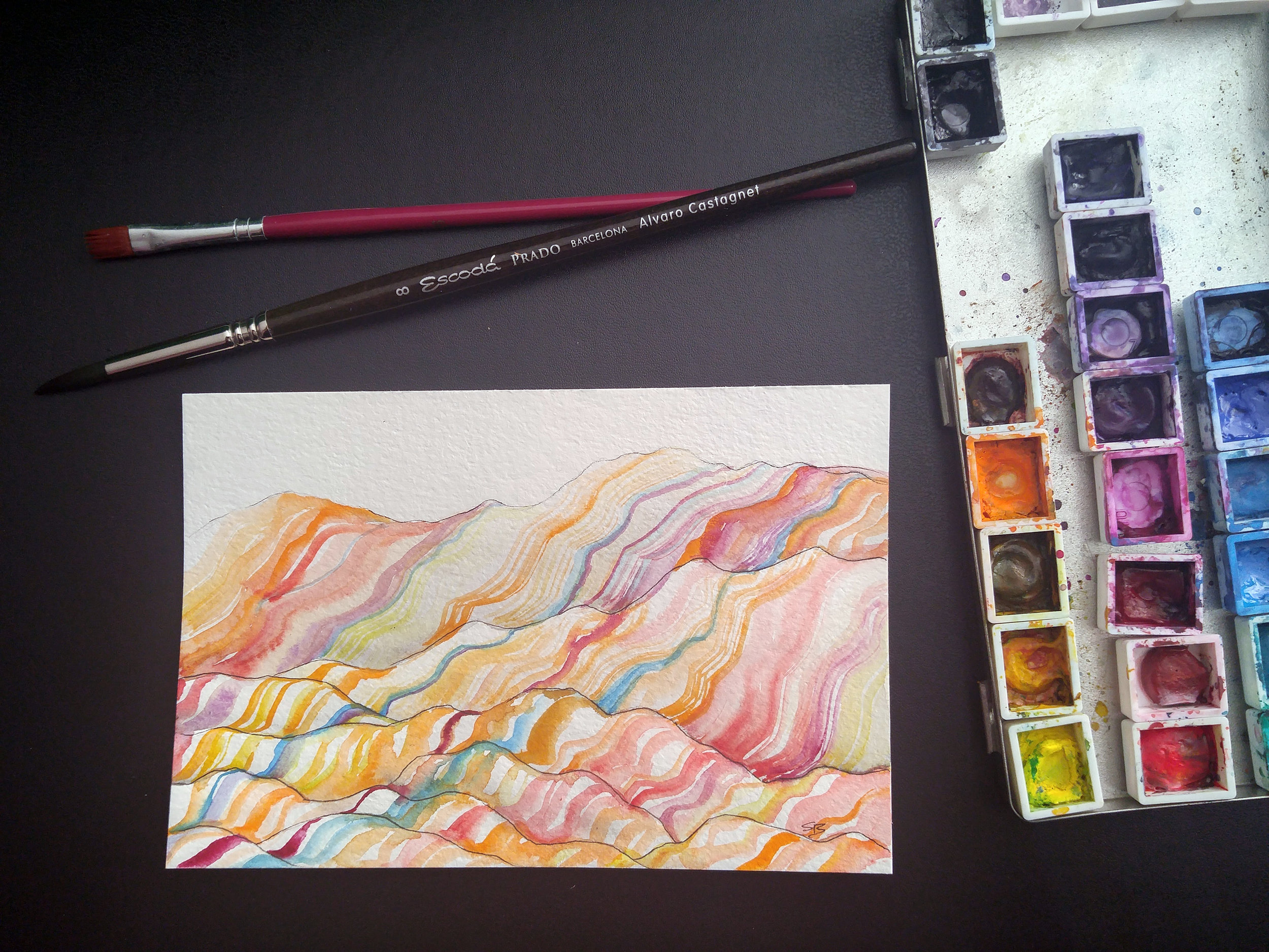 Chinese Rainbow Mountains... probably one of the hardest mountain ranges I've ever painted. It feels so abstract!