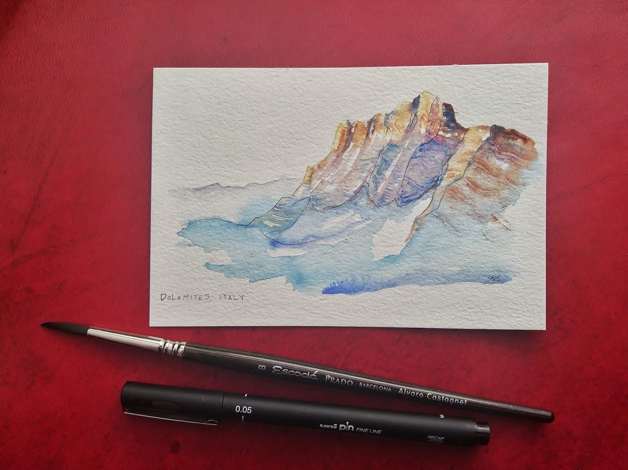 Dolomites, Italy (practicing minimal brush strokes)
