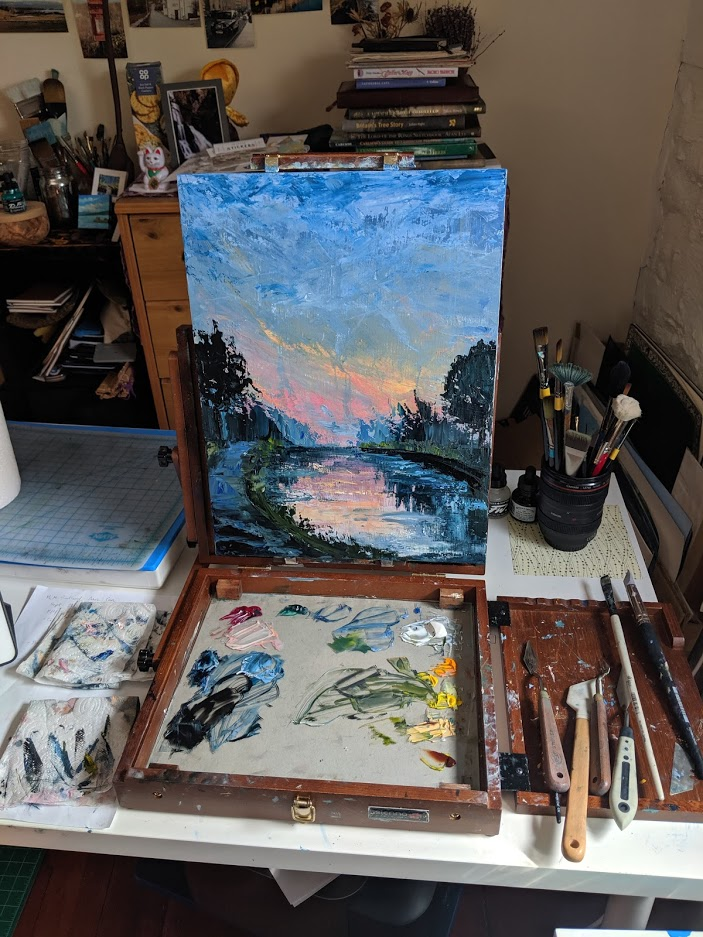"""""""Canal Sunset."""" IN PROGRESS. Oil on cradled board."""