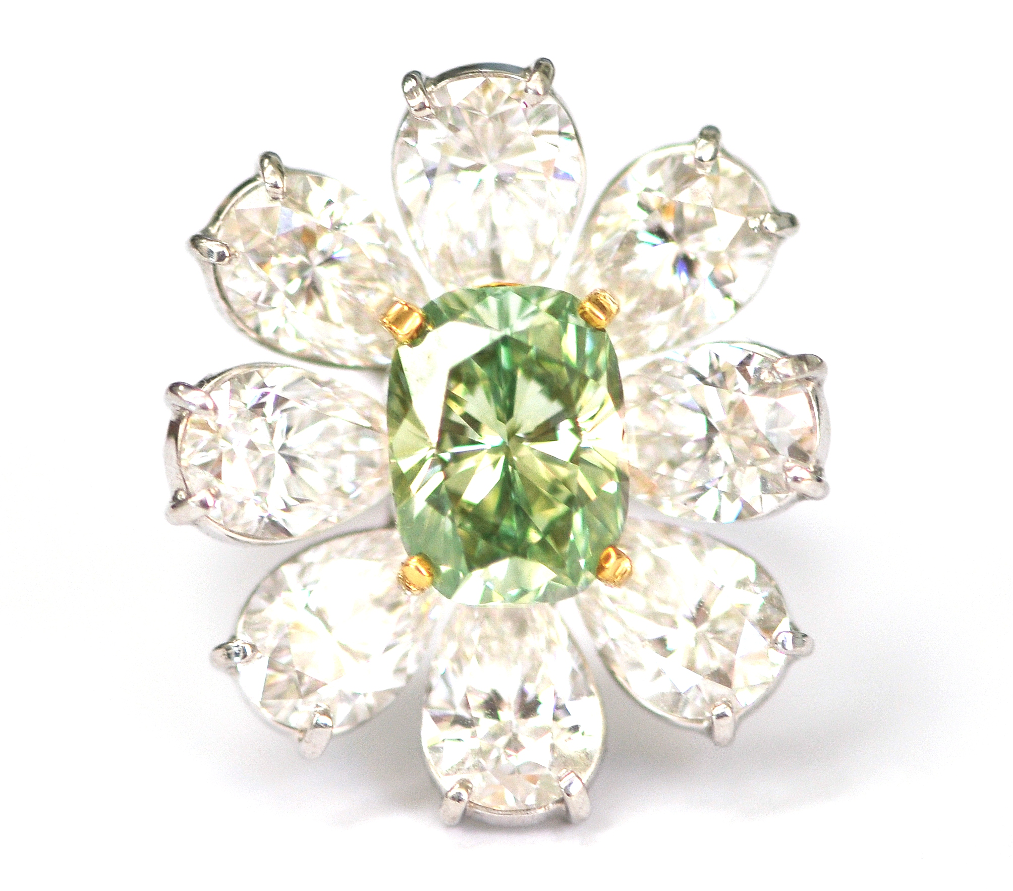 Intense Green and White Diamond Ring