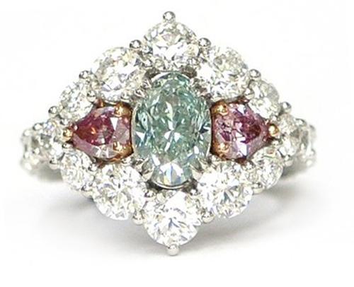 Bluish-Green and Pink Diamond Ring