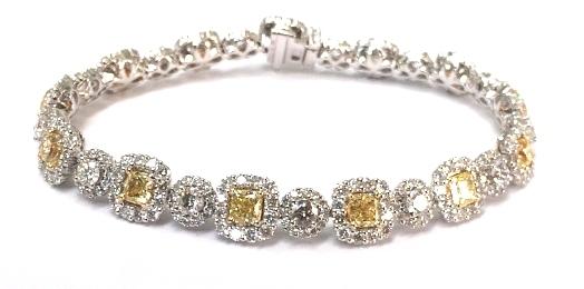 Yellow and White Diamond Bracelet